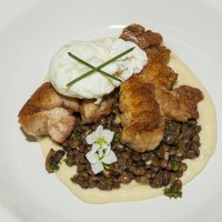 Pan Fried Veal Sweetbreads, Parsnip Puree, Lentils, Smoked bacon, Parsley Chimichurri, Fried Egg