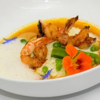 Newmans Restaurant Grilled NC Shrimp with lemon risotto