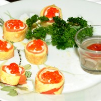 Salmon Rolls with Caviar and Oyster Shooter