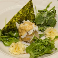 Seared Jumbo Sea Scallop with fresh crabmeat on a bed of arugula whipped potatoes and toasted Nori seaweed